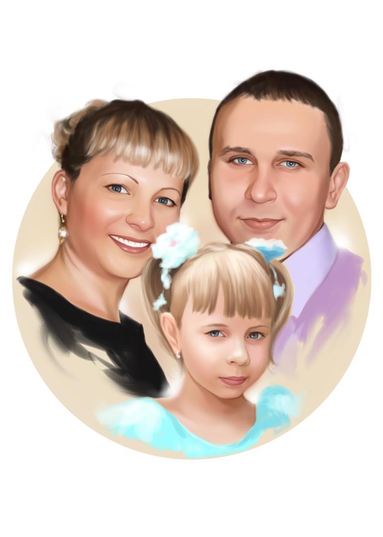 Семейный портрет по фото на холсте в Омске — правильный подарок!